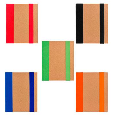 Código HL 2050  LIBRETA RIDGE (70 Hojas de raya. Incluye notas adheribles en diferentes colores, bolígrafo ecológico y elástico para cerrar.) Material: Cartón.  Tamaño: 14.3 x 18 cm.