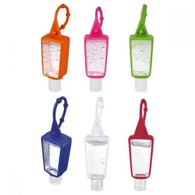 Código SLD 008 -GEL ANTIBACTERIAL HELDER  Gel antibacterial portátil y recargable. Incluye sujetador de silicón.  Material:  Plástico / Silicón  Tamaño: 3.5 x 12.8 cm