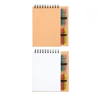 Código GM 038   CILINDRO CRAYóN.      50 Hojas blancas. Incluye 6 crayones de colores.  Material:  Cartón Tamaño: 18 x 20 cm