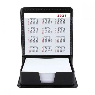 Código HL 6030  PORTA NOTAS BOX NOTES  Incluye 200 hojas de notas y calendario con dos años.  Material:  Plástico.  Tamaño:  9 x 9.4 cm