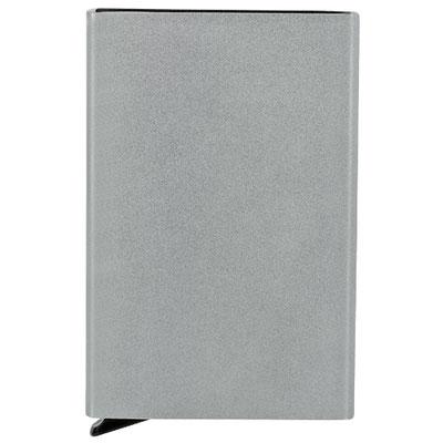 "Código M 83230 TARJETERO KALI  Tarjetero vertical. Mecanismo ""Pop up"" para desplegar tarjetas. Sistema anti robo RFID. Material:  Aluminio.  Tamaño: 6.3 x 10 cm."
