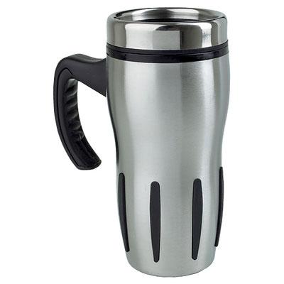 Código TMPS 19 TERMO TURBO COFFEE (Doble pared. Con barras antiderrapantes y válvula de seguridad.)  Material: Acero Inoxidable / Plástico.  Tamaño: 8.5 x 18.2 cm.