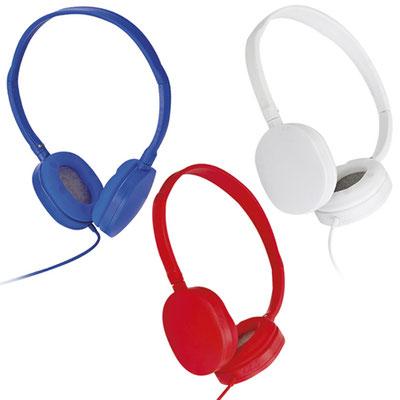 Código AUD 006 -Audífono- Audífonos acojinados ajustables con cable entrada auxiliar. Material: Plástico. Tamaño: 13.5 x 17 cm.