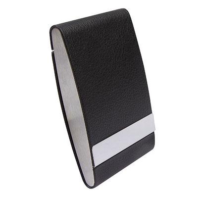 Código M 83400 TARJETERO. Tarjetero vertical. Doble compartimento. Material: Curpiel / Metal. Tamaño: 6.4 x 9.5 cm.