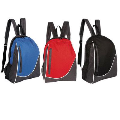 Código  SIN 120  Bolsa frontal y bolsa lateral de red. Material: Poliéster,  Tamaño: 33 x 39 x 13 cm