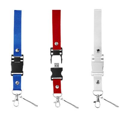 Código USB 012 -USB OMI- Incluye colgante para smartphone y caja individual, 4GB. Material: Plástico/ Tela.  Tamaño: 3 x 50 cm.