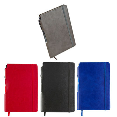 Código  HL 030 Libreta - 80 Hojas de raya. Incluye separador de hojas y bolígrafo de plástico. Material: Curpiel  - Tamaño: 14 x  20.7 cm