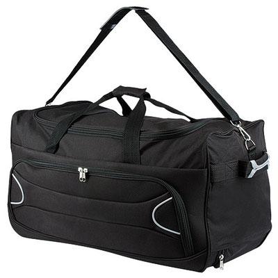 Código  SIN 710 Maleta. trolley con bolsa principal y frontal. Incluye asa para colgar en hombros. Material: Poliéster. Tamaño: 62 x 30 x 30 cm.