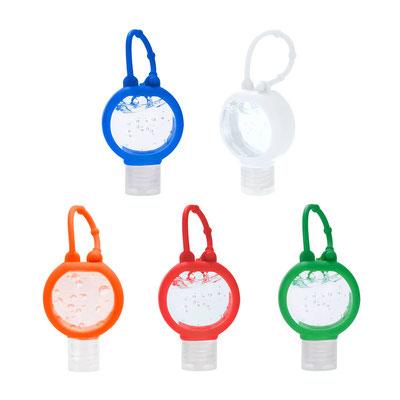 Código SLD 021 -GEL ANTIBACTERIAL ONSELLA. Gel antibacterial. Portátil y recargable. Incluye sujetador de silicón.  Material: Plástico. Tamaño: 3.8 x 10 cm.