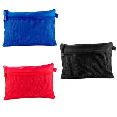 Código INF 150 ESTUCHE HANNAH. Bolsa porta lápices con compartimento exterior de malla. Material: Poliéster.  Tamaño: 29 x 20 cm.
