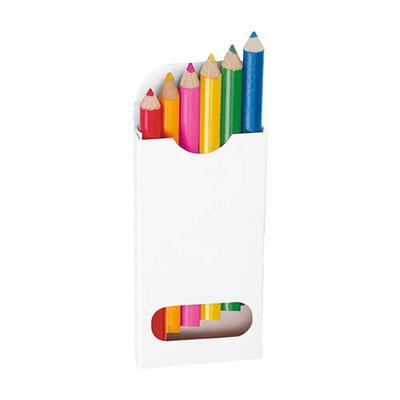 Código DPO 011 - 1  COLORES CORTOS. Caja de cartón con 6 colores cortos. Material: Madera / Caja de Cartón.  Tamaño: 4.6 x 8.8 cm.