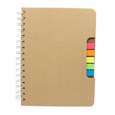 Código  HL 1100 Libreta - 100 Hojas de raya. Incluye notas adheribles en 5 colores, bolígrafo ecológico y espiral metálico doble.  Material: Cartón  - Tamaño: 16.3  x  22 cm