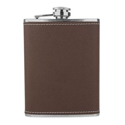 Código 60300 -LICORERA JEBEL- Incluye caja negra de regalo.  Material: Acero Inoxidable / Curpiel. Tamaño: 10 x 12.5 cm.