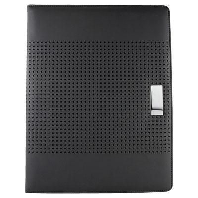 Código  M 80850 N  .  CARPETA GIRAC (Incluye block de raya tamaño A4 con 20 hojas, elástico para bolígrafo y compartimento para tarjetas. No incluye bolígrafo.)   Material:  Curpiel. Tamaño: 24 x 31.2 cm.