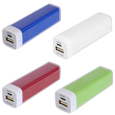 Código  CRG 005 -POWER BANK KASEN- Batería auxiliar para smartphone, capacidad 2600 mAh. Incluye cable cargador compatible con USB, 30 pin, 8 pin y micro USB. Material: Plástico. Tamaño: 9.5 x 2.5 cm.