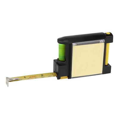 HER 049 FLEXóMETRO BOUGAINVILLE (Flexómetro cinta metálica de 2 m. Incluye notas adhesivas, bolígrafo tinta negra, clip metálico y nivel.)  Material:  Plástico.   Tamaño:  8 x 6.1 cm.