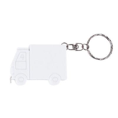 Código PRO 016   Llavero flexo metro camión. Cinta metálica de 1 m.  Material:    Plástico.    -  Tamaño: 5.5  x 4 cm