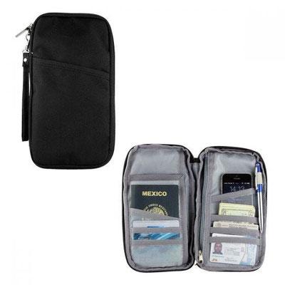 Código M 80640 - PORTA PASAPORTE SKANA- Compartimento para pasaporte, visa, boleto de avión y tarjeta de crédito. Incluye correa.   Material: Poliéster.  Tamaño: 13.5 x 24 cm.