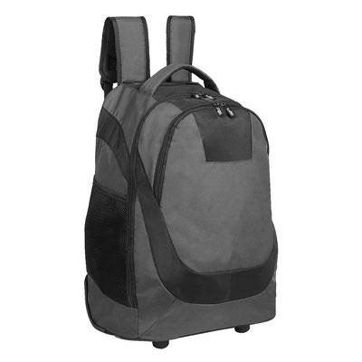 Código  SIN 143   MOCHILA TROLLEY POLUX  (Bolsa frontal con compartimento, aditamento especial para audífonos, compartimento para resguardo de tirantes, dos bolsas laterales de red y espacio para laptop.).  Material: Poliéster,  Tamaño:   33 x 50 x 20 cm