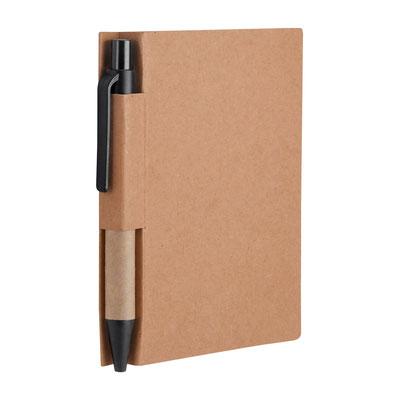Código  HL 019 BE  LIBRETA SLOVIAN  (80 Hojas de raya. Incluye bolígrafo ecológico.)  Material: Cartón.  Tamaño: 8.5 x 11.1 cm.