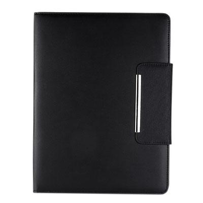 Código  M 80150 N    .CARPETA ONTARIO (Incluye block de raya tamaño A4 con 20 hojas, elástico para bolígrafo, broche magnético, compartimentos para documentos y tarjetas. No incluye bolígrafo.)  Material:  Curpiel. Tamaño: 24 x 32 cm