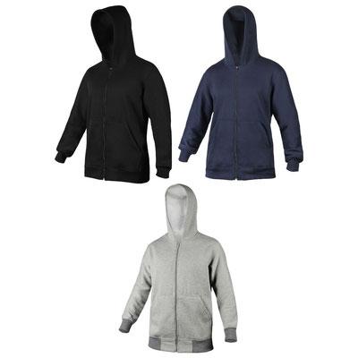 Código CHm 012 - SUDADERA CUDMORE (Sudadera con capucha, cierre en medio y bolsas frontales. Composición: Algodón 65%, poliéster 35%.)  Material: Algodón / Poliéster