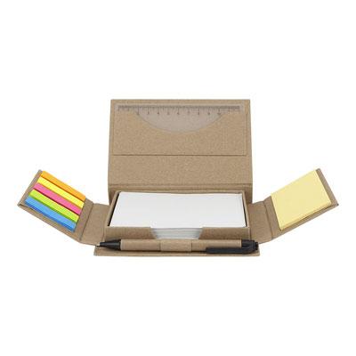 Código HL 6245 PORTA NOTAS HAYMAN (Incluye bolígrafo ecológico, regla de 12 cm, 100 hojas de notas blancas, 25 notas adheribles beige y banderas de 5 colores.) Material:  Plástico.  Tamaño: 14 x 10 cm