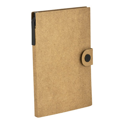 Código  HL 016 BE   LIBRETA JOG (50 Hojas blancas. Incluye broche para cerrar, notas adheribles de diferentes colores y bolígrafo ecológico.)  Material: Cartón.  Tamaño: 10.2 x 15.2 cm.