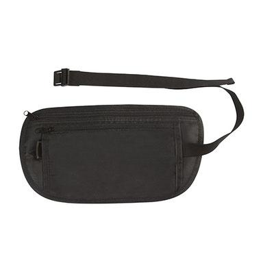 Código SIN 420 - PORTA DOCUMENTOS SIERO- Compartimento principal y bolsa frontal. Incluye elástico para sujetar a la cintura.  Material: Poliéster. Tamaño: 26 x 13.5 cm.