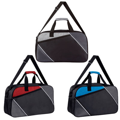 Código SIN 168 MALETA TABUSH (Bolsa principal, frontal y 1 compartimento lateral de malla. Incluye asa para colgar en hombros. ) Material: Poliéster. Tamaño: 49 x 29.5 x 15 cm.