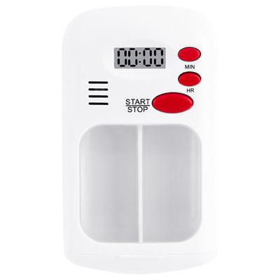 Código PT 020  PASTILLERO HARVEY (Pastillero con alarma con multiples repeticiones (duracion de 30 segundos), programacion de horas y 2 compartimientos para pastillas. ) Material: Plástico. Tamaño: 6 x 9.3 cm.