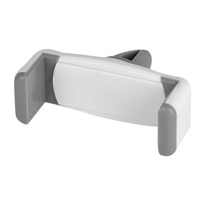 Código Cel 034  SOPORTE VOON (Soporte con mecanismo ajustable para smartphones de 6 a 8 cm de ancho. ángulo de rotación de 360§. Se monta en las ventilas del aire acondicionado.)  Material: Plástico.  Medida:  6.8 x 2.8 cm.