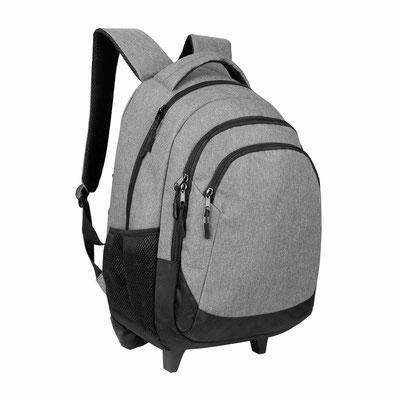 Código SIN 418    (Bolsa principal con espacio para laptop. 2 Bolsas frontales. Parte trasera para esconder tirantes y lona para cubrir llantas.) Material: Poliester. Tamaño 30 x 44 x 13.5 cm