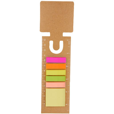 Código HL 6015  SEPARADOR ECOLóGICO KIKORI Incluye notas adheribles: 25 amarillas y banderas de colores. Regla de 14 cm impresa. Material: Cartón / Papel.  Tamaño: 5.7 x 22 cm.