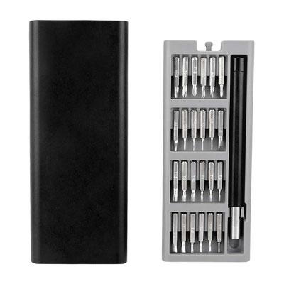 HER 053  SET DE HERRAMIENTAS SERANG (Incluye desarmador y 24 puntas de diferentes tamaños.)   Material:  Metal / Plástico.  Tamaño: 16.7 x 6.8 cm.