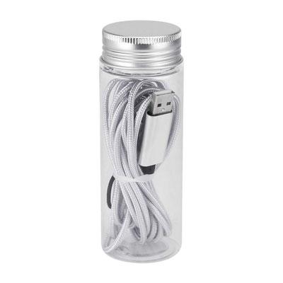 Código CEL 040   CABLE BUCAREST (Cable cargador compatible con USB, 8 pin, micro USB y entrada tipo C. Longitud de cable 3 m aproximadamente. Incluye estuche translúcido.)    Material:   Aluminio / Plástico.   Medida:  4.7 x 13 cm.