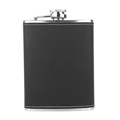 Código 60400 - LICORERA TOSCANA- Incluye caja negra de regalo.  Material: Acero Inoxidable / Curpiel. Tamaño: 10 x 12.5 cm.