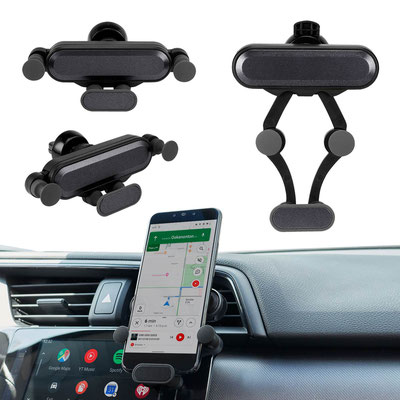 Código CEL 053  - SOPORTE VETUSTA-   Soporte con mecanismo ajustable para smartphones. Ángulo de rotación de 360°. Se monta en las ventilas del aire acondicionado.   Material:  Plástico. Tamaño: 12 x 2.7cm