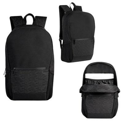 Código  SIN 403  MOCHILA  CAMERON    Bolsa principal con espacio para laptop, bolsa frontal con cierre, 2 bolsas laterales de red y tirantes acojinados.  Material:  Poliéster   Tamaño:  29 x 47 x 14 cm