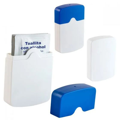 Código SLD 054 -ESTUCHE GRANDE CON PADS DE ALCHOHOL  - Incluye 6 toallitas con Alcohol al 75 %..- Material: Plástico  Tamaño: 6.9 x 10.3 cm