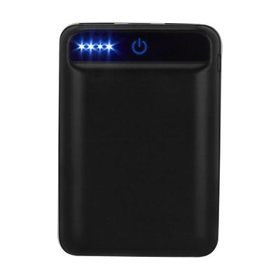 Código CRG 026  POWER BANK NIPET (Batería auxiliar para smartphone con linterna LED, capacidad 6000 mAh. Incluye cable cargador compatible con USB y micro USB.)   Material:  Plástico.   Medida: 6.3 x 9.1 cm.