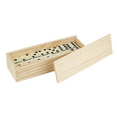 Código JM 045 -DOMINO KATAVI- Incluye caja de madera con 28 piezas.   Material: Estuche Madera / Fichas Plástico. Tamaño: 18 x 4 cm.