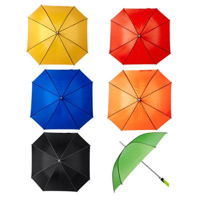 Código  PAR 03 Paraguas. Automático. 8 Paneles y mango de plástico. Incluye cordón. Material: Poliéster. Tamaño: 98 x 98 cm.