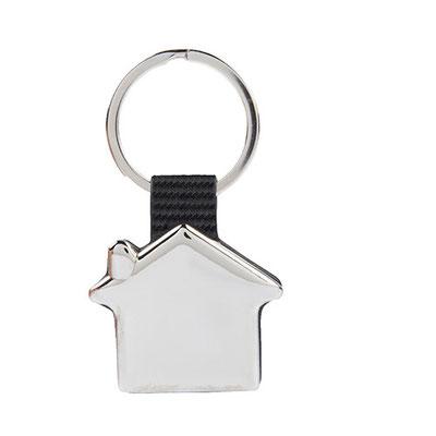 Código M 2020  Llavero casa.  Material: Curpiel / Metal    -  Tamaño: 4.4 x 7.5  cm