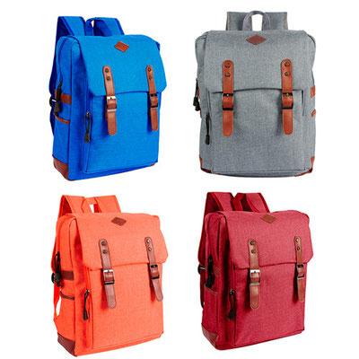 Código  SIN 971  Bolsa frontal. Dos bolsas laterales. Compartimento para laptop.  Material: Poliéster,  Tamaño: 31 x 42 x 8.5 cm