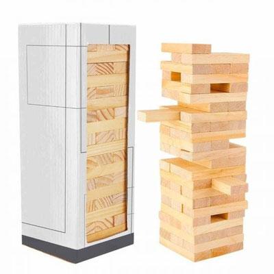 Código JM 040 - TORRE DE BLOQUES ZINDER- Incluye 60 piezas de madera. Material: Madera. Tamaño:7 x 2.3 cm Ficha.