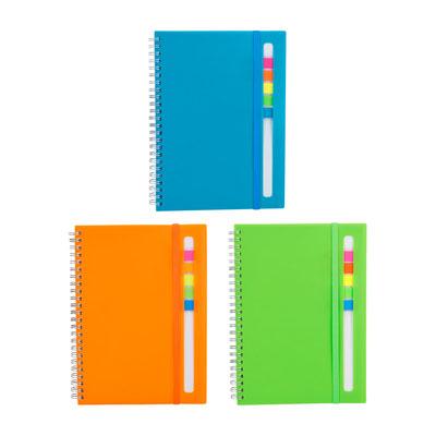 Código  HL 012  LIBRETA ABDALA  (80 Hojas de raya. Incluye notas adheribles de colores  Material: Plastico .  Tamaño:  16 x 21.2 cm.