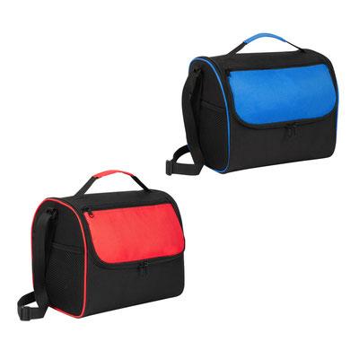 Código   SIN 236 LONCHERA PRAIA (Interior plastificado. Bolsa frontal con cierre. Bolsa lateral de red.)   Material:  Poliéster - Tamaño:  26 x 23 x 19 cm
