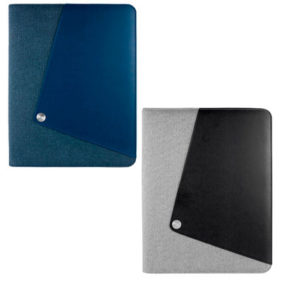 Código  M 6020 A   .CARPETA HAEDI (Incluye block de raya tamaño A4 con 20 hojas, elastico para boligrafo, compartimento para smartphone, Ipad y tarjetas. No incluye boligrafo.)  Material:  Curpiel / Poliéster. Tamaño: 26.5 x 33.6 cm.