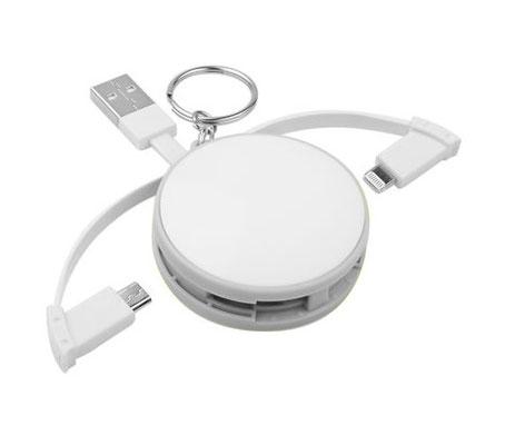 Código CRG 011   CABLE BATARI (Set de cables para cargar el smartphone. Compatible con USB, 8 pin y micro USB.) . Material: Plástico Tamaño: 5 cm Diámetro.